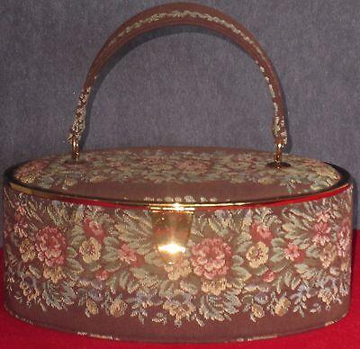 Vintage Bienen Davis Brown Floral Tapestry Box Style Handbag Purse