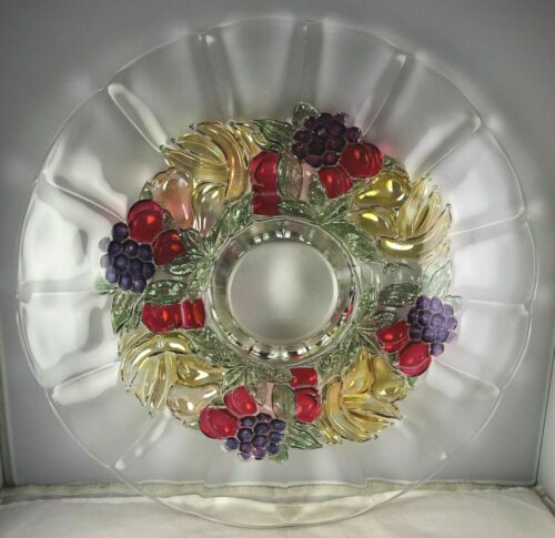 Westmoreland Della Robia Footed Glass Torte Cake Plate Multicolored Fruit