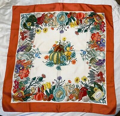 Vintage Gucci Scarf V. Accornero 100% Silk Print Made in Italy Flowers Vegetable