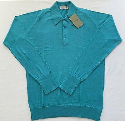 BNWT JOHN SMEDLEY BLUE STANDARD FIT COTTON LONG SLEEVE POLO COLLAR SWEATER S