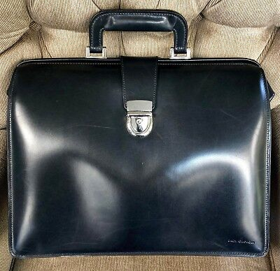 Jack Georges Elements Collection Triple Gusset Classic Leather Briefcase BLACK