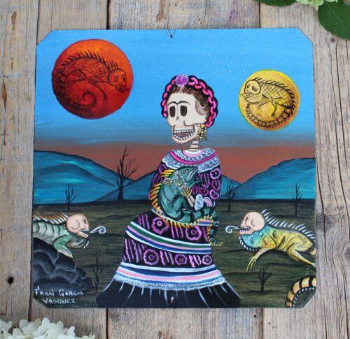 Day of the Dead Tin Retablo Frida Kahlo Skeleton Iguanas Oaxaca Mexican Folk Art