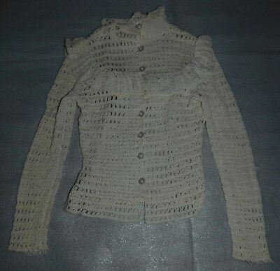 Ivory White Sweater Knit Junior Girls Button Front Ruffled Collar Long Sleeve
