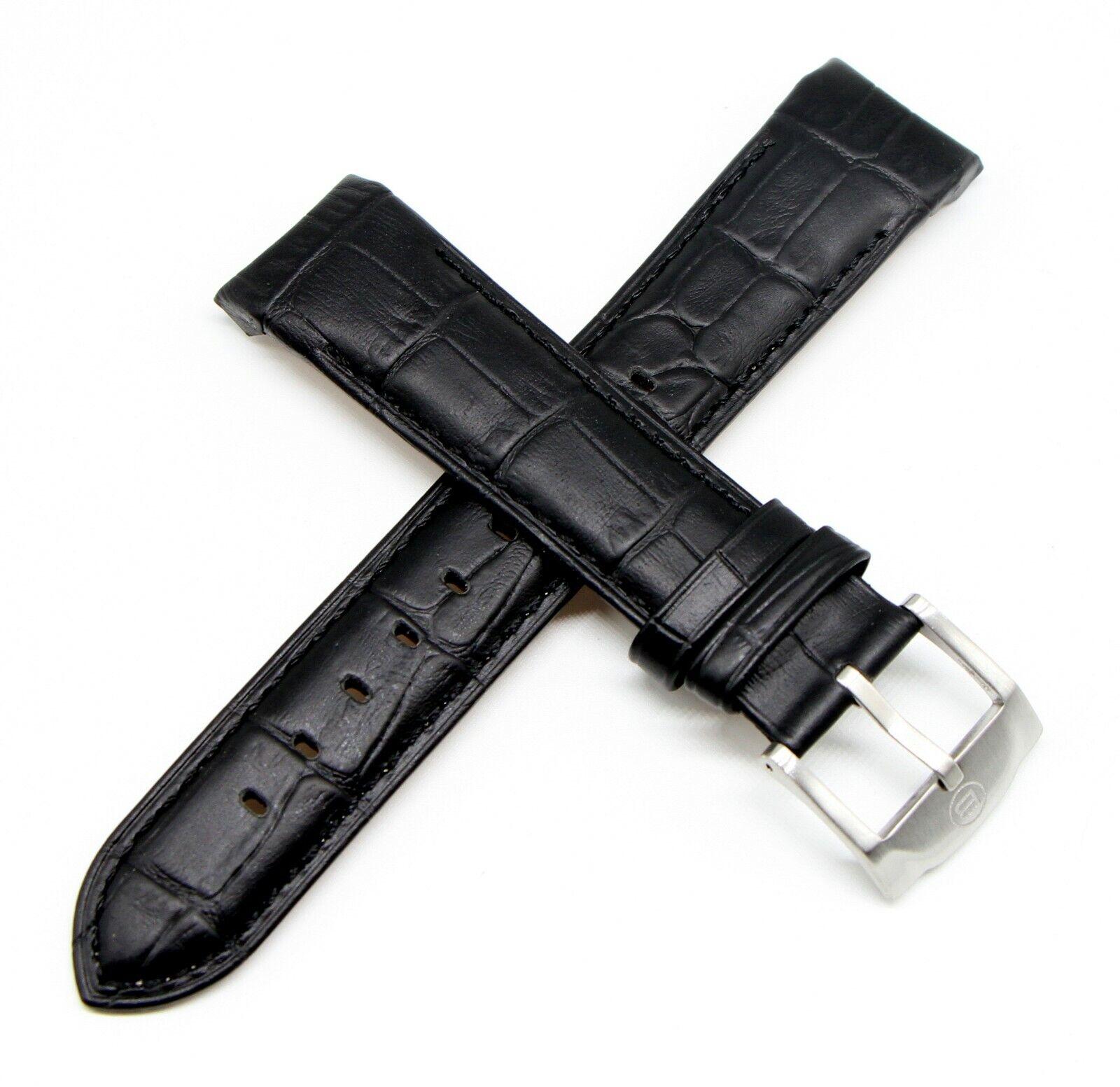 Ben & Sons Uhrenarmband Leder 22 MM Alligator Optik Schwarz für West Side