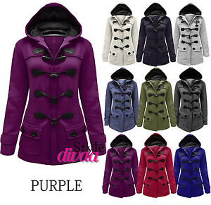 LADIES WOMENS DUFFLE TOGGLE TRENCH POCKET HOODED COAT JACKET WINTER COATS NEW