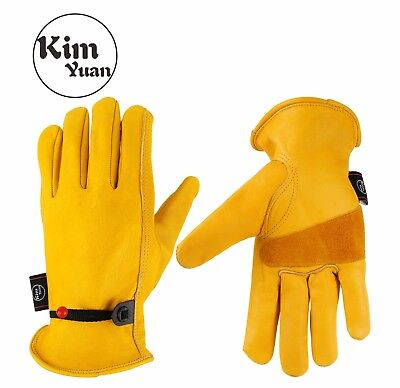 Kim Yuan Cowhide Leather Work Safe Gloves Gardenmotorcycledriving Men Smlxl