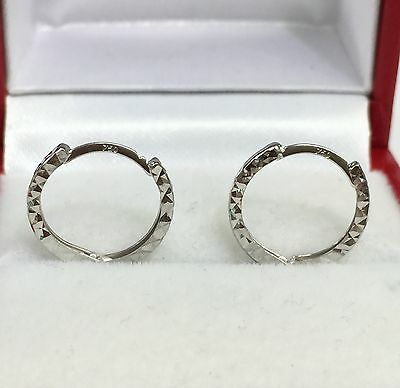 18k Solid White Gold Cute Hoop Kids/women  Earrings, Diamond Cut 0.80 Grams ()