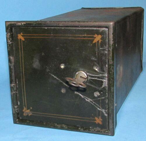 "Antique Lock Box Safe Wall Floor Door 4 3/8"" x 4 1/2"" w/Key 9"" Deep"
