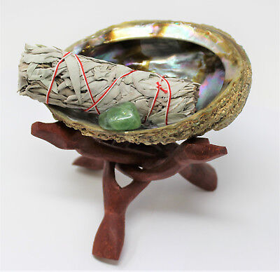 Abalone Shell Smudge Kit: Wooden Tripod White Sage Stick Fluorite Crystal Stone