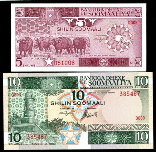 Somalia ... P-31a,32a ... 5,10 Shillings ... 1983 ... * UNC *