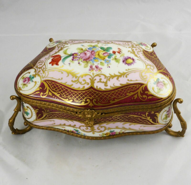"Large Antique Hand Painted French Porcelain Box with Ormolu 11"" x 6"" x 5"" France"