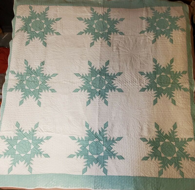 """Antique Quilt ~ Feathered Star ~ Seafoam Green/White ~ 75x83"""" ~ Full/Queen"""