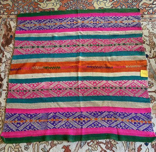 Vintage Peruvian Guatemalan Handwoven Woven Wool Textile Throw Blanket Rug #2