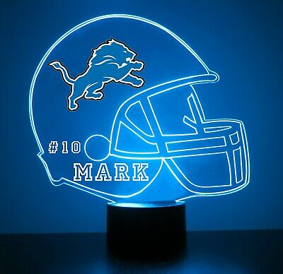 Detroit Lions Night Light - Detroit Lions Night Light Lamp Personalized FREE NFL Football Light Up
