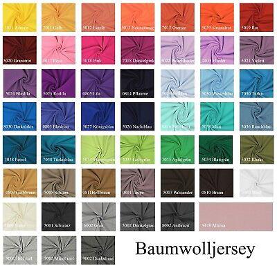 Jersey Baumwolljersey Uni Meterware, 220g/m², Öko-Tex , 0,5 m, Stoffe, 330g/lfm ()