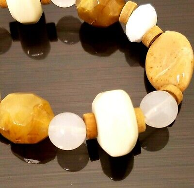 Neutral Color Natural Stone Look Multi Shape Bead Wood Spacers Stretch Bracelet
