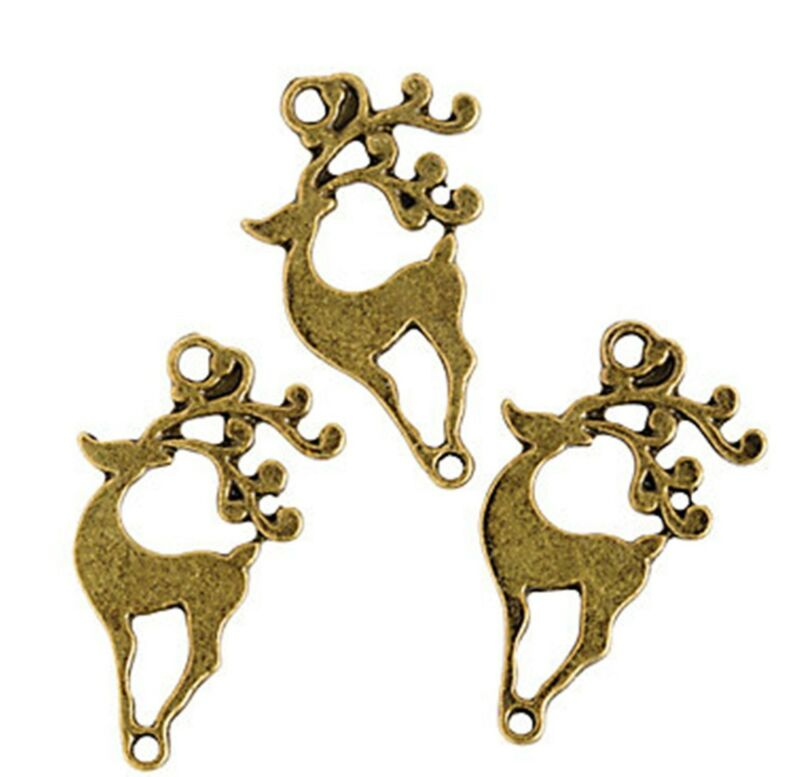 12 Antique Gold tone REINDEER CHARMS Holiday Craft jewelry 30mm