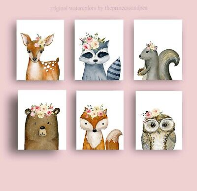 woodland animal wall art decor, forest animal prints baby girl nursery - Baby Girl Nursery Pictures