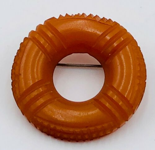 """Butterscotch Bakelite Life Preserver or Wheel Shaped Pin Brooch - 1.5"""" round"""