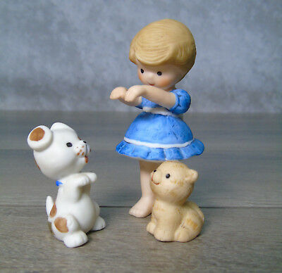 Farm Country Cousins Porcelain POLLY Girl In Dress With DOG & CAT Figurines 1984