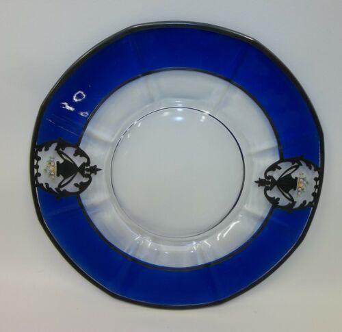 Stunning Antique Sterling Overlay Enameled Floral Serving Platter Plate