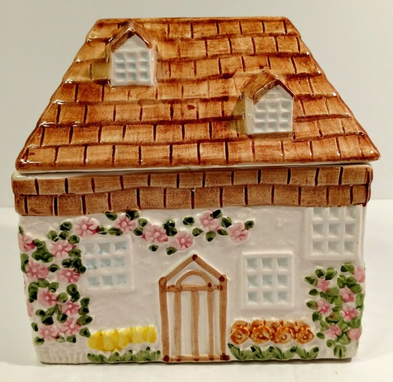 Vintage Ceramic Cookie Jar House Cotswold Cottage Hand Decorated Shafford Japan