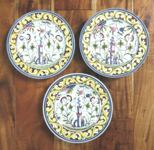 "Williams Sonoma Provence Nazari 3 Salad Plates 8"" Made Portugal Hand Painted"