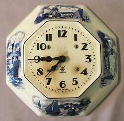 Miller 8 Day Delft Octagon Ceramic Plate Wall Clock