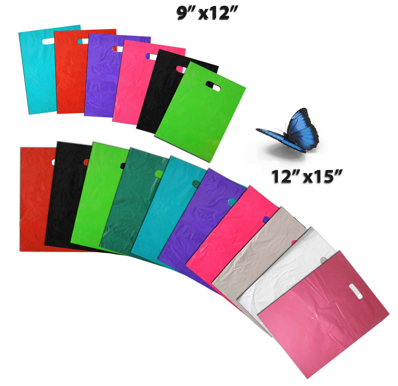 "9"" x12"" & 12"" x15"" Colored PLASTIC MERCHANDISE Store Bags, R"