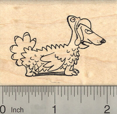 Thanksgiving Dachshund Dog Rubber Stamp, in Turkey Costume H22707 WM - Dog Turkey Costume