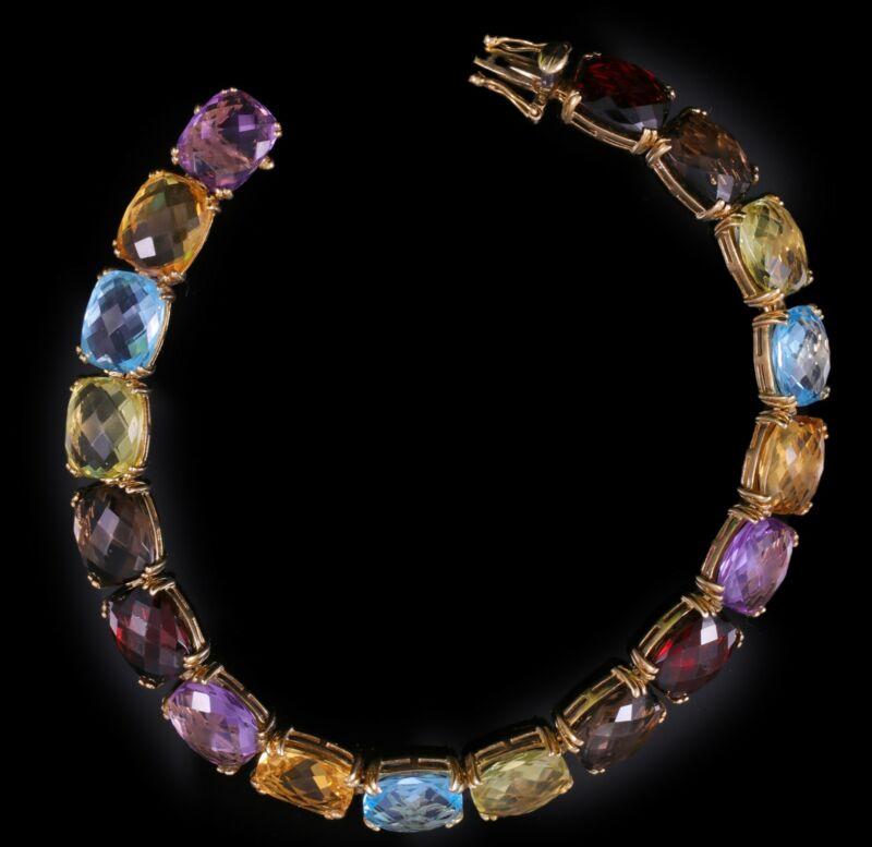 Gorgeous 14K Estate 36 Carat Natural Gemstone Bracelet Spectacular!