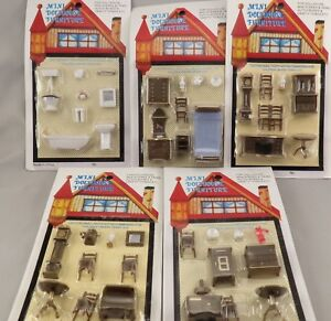 Vintage Miniature Dollhouse Furniture 1/4 1:48 Quarter Lot of 5 Sets 1/48 TINY