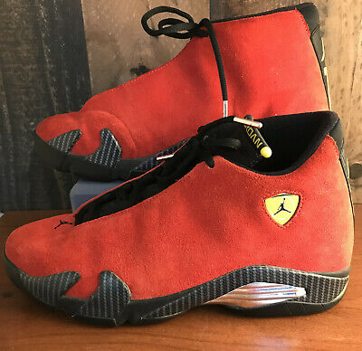Nike Air Jordan Retro 14 Ferrari Red Suede 654459 670 Size 9.5