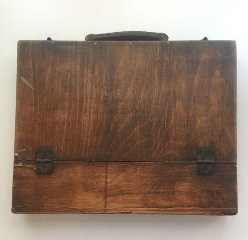 Antique VTG Wood Portable Writing Lap Desk Art Supply Briefcase Carrying Case