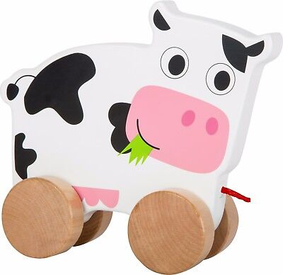Zieh-Kuh Nachziehspielzeug Nachziehtier Spielzeug Babys Ziehtier aus Holz Neu