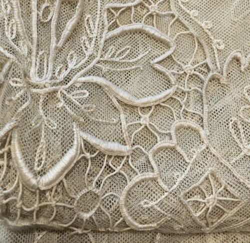 Antique Embroidered netting bedspread