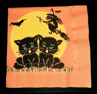 Vintage *UNUSED* Halloween Napkin: Black Cat, Flying Witch & Full Moon Graphics