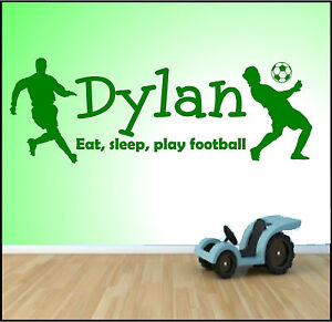Personalised wall art sticker any name boys bedroom for Man u bedroom accessories