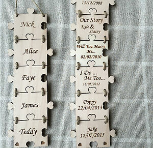 Personalised Family Sign Names Dates Wooden Puzzle Plaque Shabby Home Jigsaw