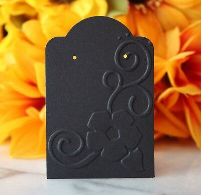 25 Black Floral Earring Cards Jewelry Cards Craft Show Or Retail Display Cards