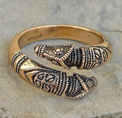 Drachenkopf Ring aus BRONZE Gr.50-59 Wikingerring Mittelalter Drachenkopfring