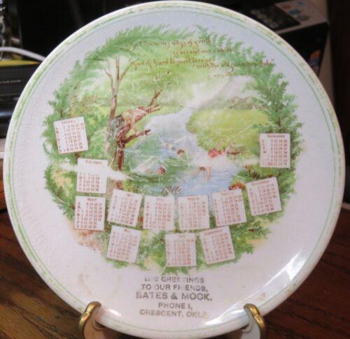 Crescent Oklahoma merchant advertising calendar plate 1910