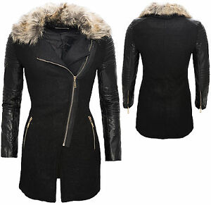 femmes manteau avec simili cuir manche col de fourrure veste noir hiver d 86 ebay. Black Bedroom Furniture Sets. Home Design Ideas