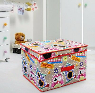 - Multi Use Foldable Large Owl Cream Red Storage Box Kids Fun Toy Chest Room Tidy