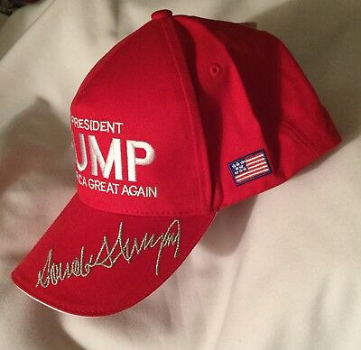 Trump Make America Great Again Red Cap Hat Maga Usa Flag 45Th President Signed