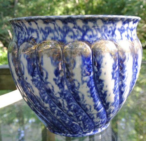 Antique Spatterware Flow Blue & Gold Jardiniere Flower Pot, Planter Decor