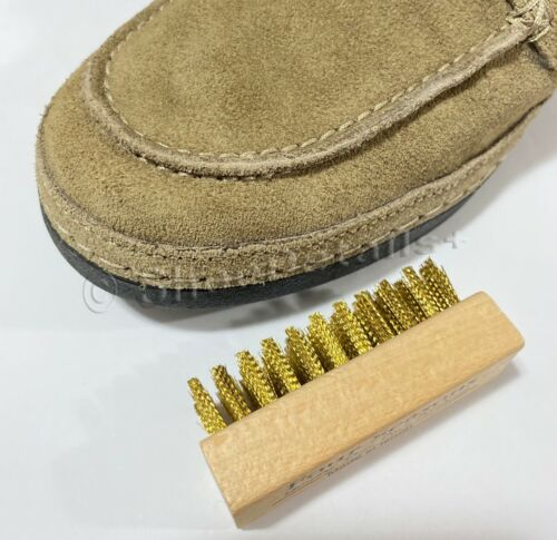 Brass Bristles Suede Nubuck Wire Brush Wood Handle Shoe Boot Bag Nap Cleaning
