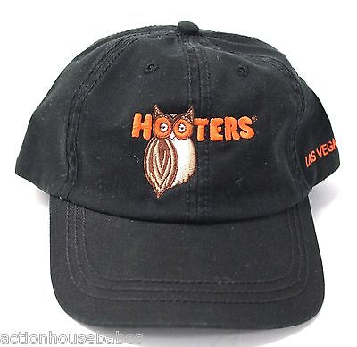 HOOTERS OWL LAS VEGAS NV HAT - NEW - One Size Fits All - WASHED BLACK BALL CAP