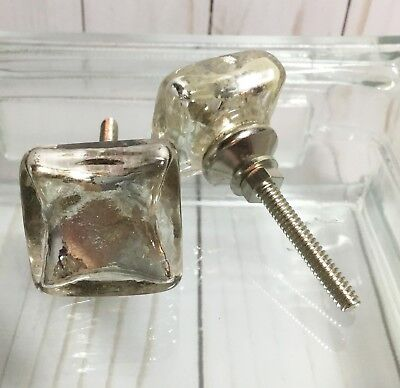 1-Antique Silver Mercury Flat Square Glass Furniture Cabinet Knob Drawer (Antique Silver Mercury Glass)