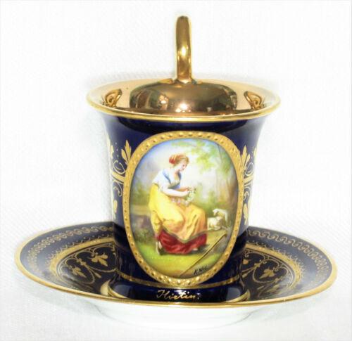 Antique Royal Vienna Cobalt Cup & Saucer, Signed
